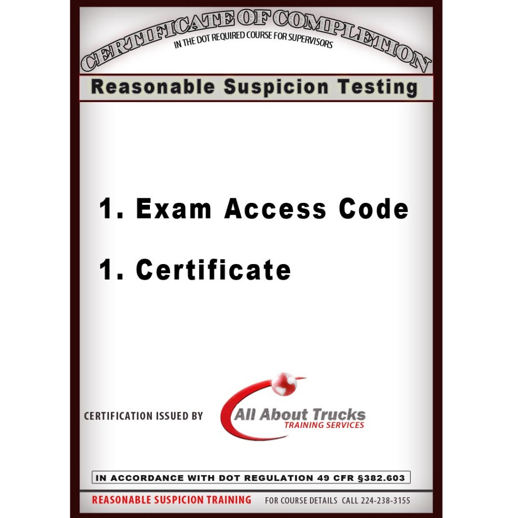 New store all about trucks reasonable suspicion testing certificate only xflitez Choice Image